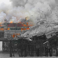 Buy canvas prints of West Pier Fire by Terry Busby