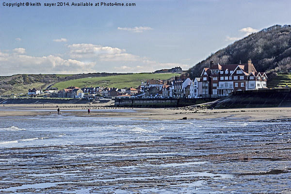 Sandsend From The Beach Canvas Print by keith  sayer