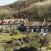 Buy canvas prints of Cottages At Sandsend North Yorkshire by keith  sayer