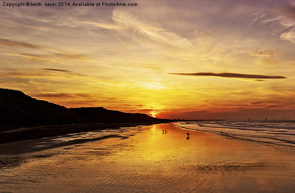 Saltburn Beach Sunset Canvas print by keith  sayer