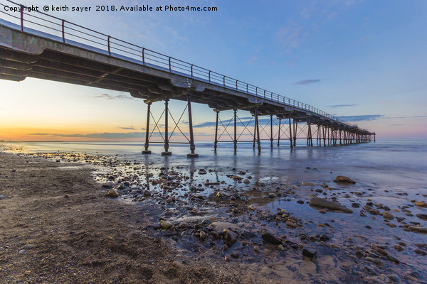 Saltburn as the sun goes down Canvas print by keith sayer