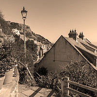 Buy canvas prints of Runswick Bay Cottages (toned Image) by keith sayer