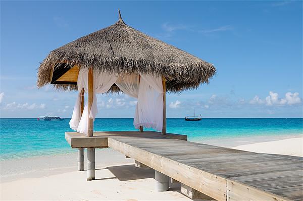 Romantic Hut with Light Ocean Breeze. Maldives Canvas print by Jenny Rainbow