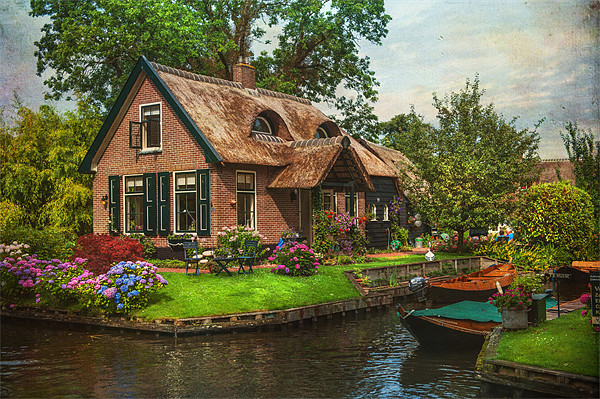 Fairytale House. Giethoorn. Venice of the North Canvas print by Jenny Rainbow