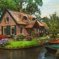 Buy canvas prints of Fairytale House. Giethoorn. Venice of the North by Jenny Rainbow