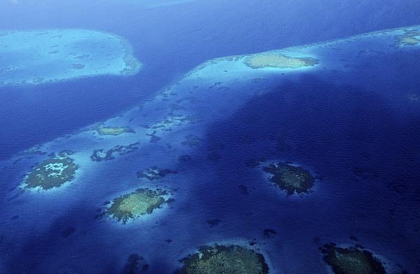 Maldivian Reefs. Aerial View  Canvas print by Jenny Rainbow