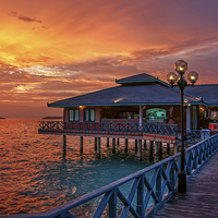 Buy canvas prints of  Fireworks of Colors. Maldives  by Jenny Rainbow