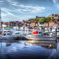 Buy canvas prints of Fishing boats in Whitby Harbour by colin potts