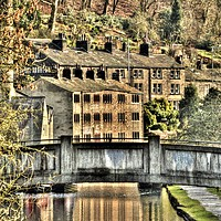Buy canvas prints of Hebden Bridge canal. by colin potts