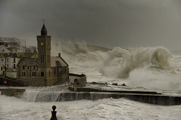 Porthleven battered by huge waves Canvas print by Steve Cowe