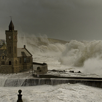 Buy canvas prints of Porthleven battered by huge waves by Steve Cowe