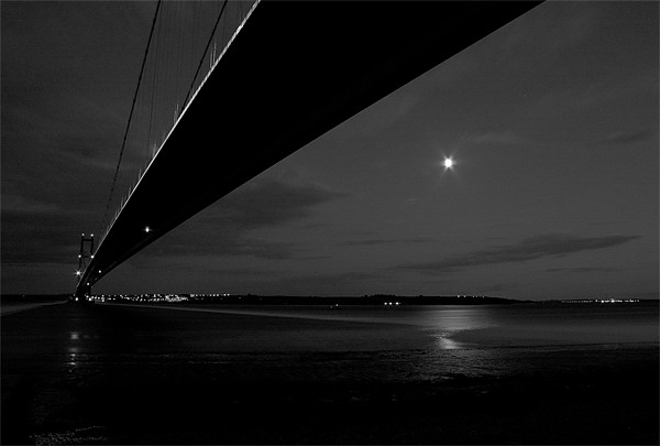 Humber bridge by night Canvas print by Leon Conway