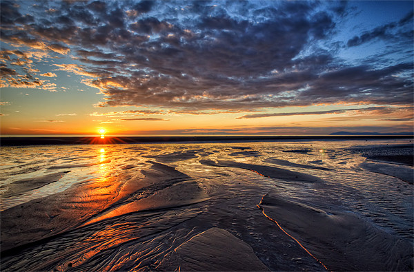 Sunset on Cleveleys Beach Canvas Print by Gary Kenyon