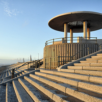 Buy canvas prints of Golden Light On Cleveleys Promenade by Gary Kenyon
