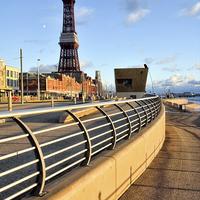 Buy canvas prints of Golden Light On Blackpool Promenade by Gary Kenyon