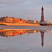 Buy canvas prints of Golden Mile Reflections Blackpool by Gary Kenyon