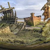 Buy canvas prints of Abandoned fishing boats on the banks of the River  by Gary Kenyon