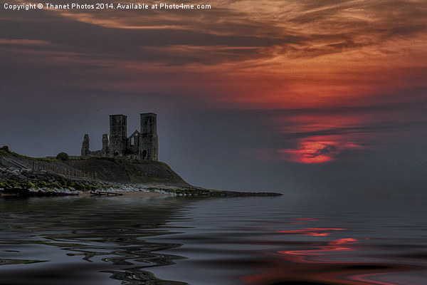 Reculver castle sunset Canvas Print by Thanet Photos