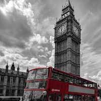 Buy canvas prints of  London in Mono with Red bus by Thanet Photos