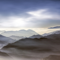 Buy canvas prints of  Misty mountains                         by Thanet Photos