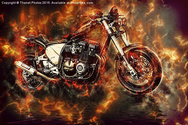 Street Bike in flames Canvas print by Thanet Photos