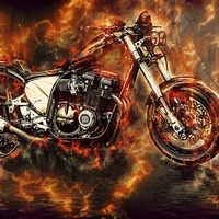 Buy canvas prints of  Street Bike in flames by Thanet Photos