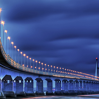 Buy canvas prints of Second Severn Crossing at Night by Steve Clark