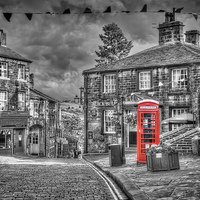 Buy canvas prints of Haworth - Red Telephone Box by Steve Clark