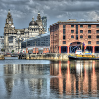 Buy canvas prints of  Albert Dock Liverpool (Square) by Steve Clark