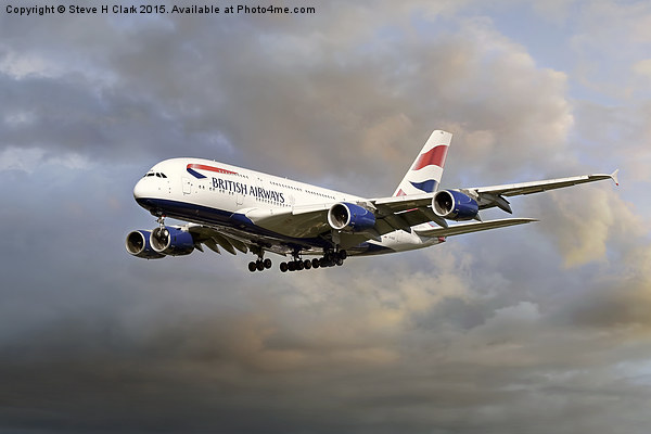 British Airways Airbus A380 Canvas print by Steve H Clark