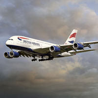 Buy canvas prints of British Airways Airbus A380 by Steve H Clark