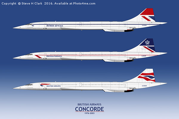 British Airways Concords 1976 to 2003 Canvas print by Steve H Clark