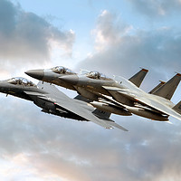Buy canvas prints of F-15 Eagles and Strike Eagle by Steve H Clark