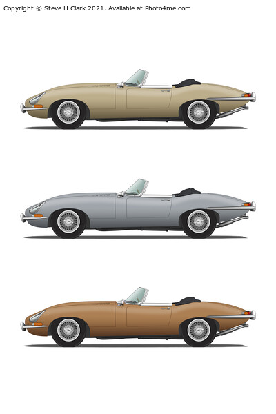 Jaguar E Type Roadster Gold Silver and Bronze Acrylic by Steve H Clark