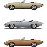 Buy canvas prints of Jaguar E Type Roadster Gold Silver and Bronze by Steve H Clark