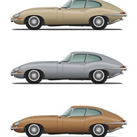 Buy canvas prints of Jaguar E Type Fixed Head Coupe Gold Silver and Bro by Steve H Clark