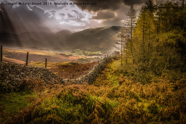 Borrowdale Rays Canvas print by Peter Stuart
