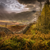 Buy canvas prints of Borrowdale Rays by Peter Stuart