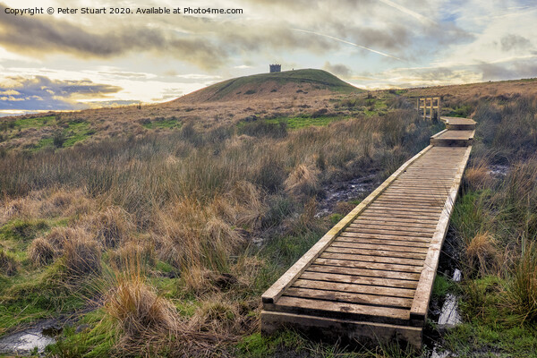 Rivington Pike and Winter Hill above Anglezarke Reservoir in the West pennines Canvas Print by Peter Stuart