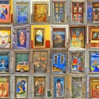 Buy canvas prints of Funchal Door Art Collage. by David Birchall