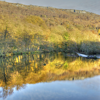 Buy canvas prints of River Derwent Reflections, Derbyshire by David Birchall