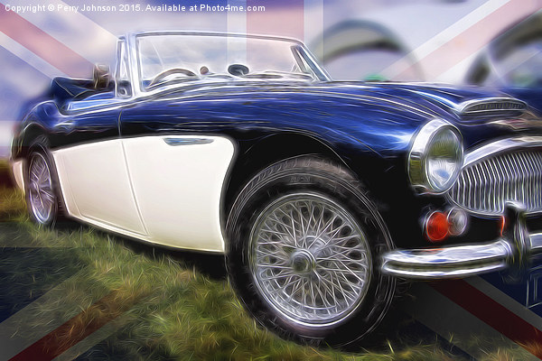 Healey with flag Canvas Print by Perry Johnson