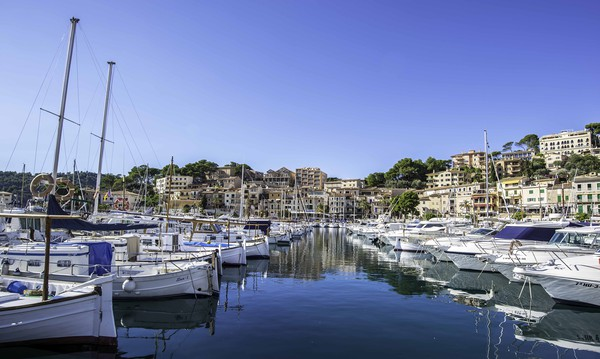 Small boats, Port de Soller, Mallorca Framed Mounted Print by Perry Johnson