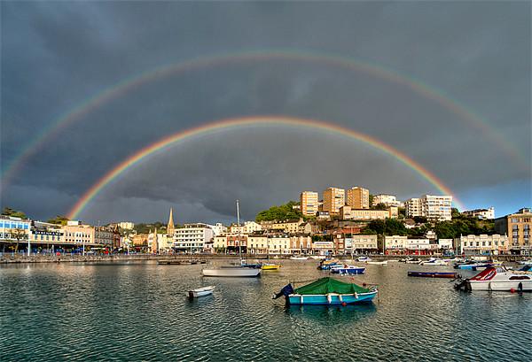Double Rainbow Torquay Canvas print by Rosie Spooner