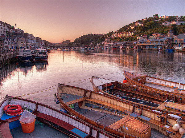 The sun goes down at Looe Canvas print by Rosie Spooner