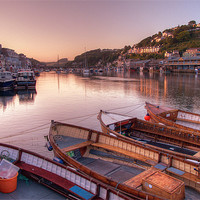Buy canvas prints of The sun goes down at Looe by Rosie Spooner