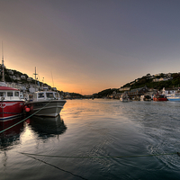 Buy canvas prints of  The sun goes down on the Looe River by Rosie Spooner