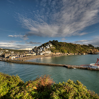 Buy canvas prints of  Clouds gather over Looe and the Banjo Pier early  by Rosie Spooner