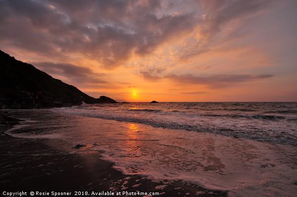 Sunrise on Looe Beach in South East Cornwall Canvas print by Rosie Spooner