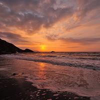 Buy canvas prints of Sunrise on Looe Beach in South East Cornwall by Rosie Spooner